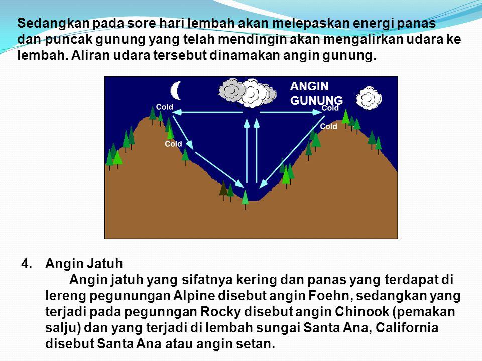 Sedangkan pada sore hari lembah akan melepaskan energi panas dan puncak gunung yang telah mendingin akan mengalirkan udara ke lembah. Aliran udara ter