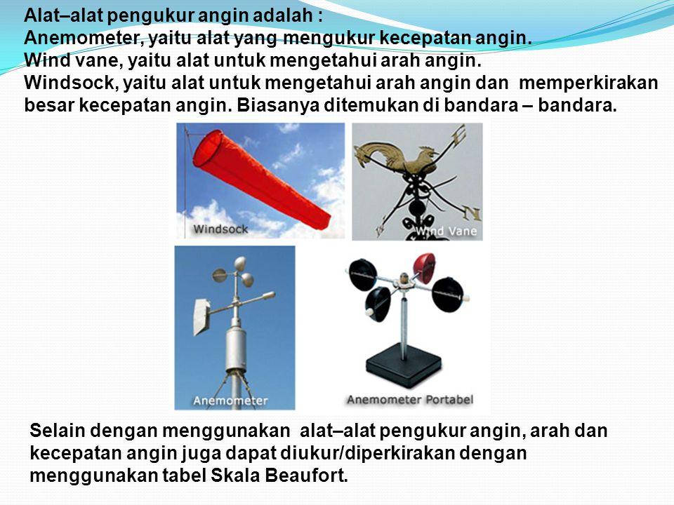 Alat–alat pengukur angin adalah : Anemometer, yaitu alat yang mengukur kecepatan angin. Wind vane, yaitu alat untuk mengetahui arah angin. Windsock, y