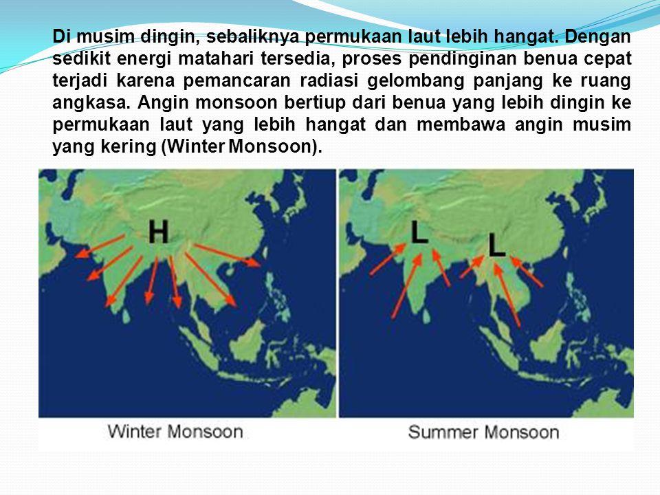 Di musim dingin, sebaliknya permukaan laut lebih hangat. Dengan sedikit energi matahari tersedia, proses pendinginan benua cepat terjadi karena pemanc