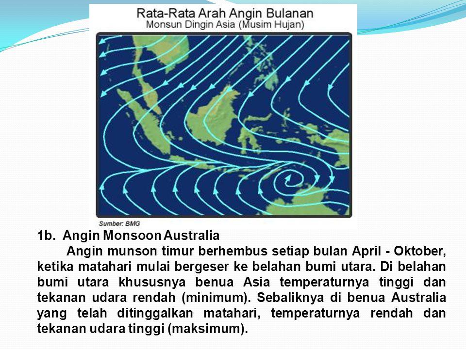 1b. Angin Monsoon Australia Angin munson timur berhembus setiap bulan April - Oktober, ketika matahari mulai bergeser ke belahan bumi utara. Di belaha