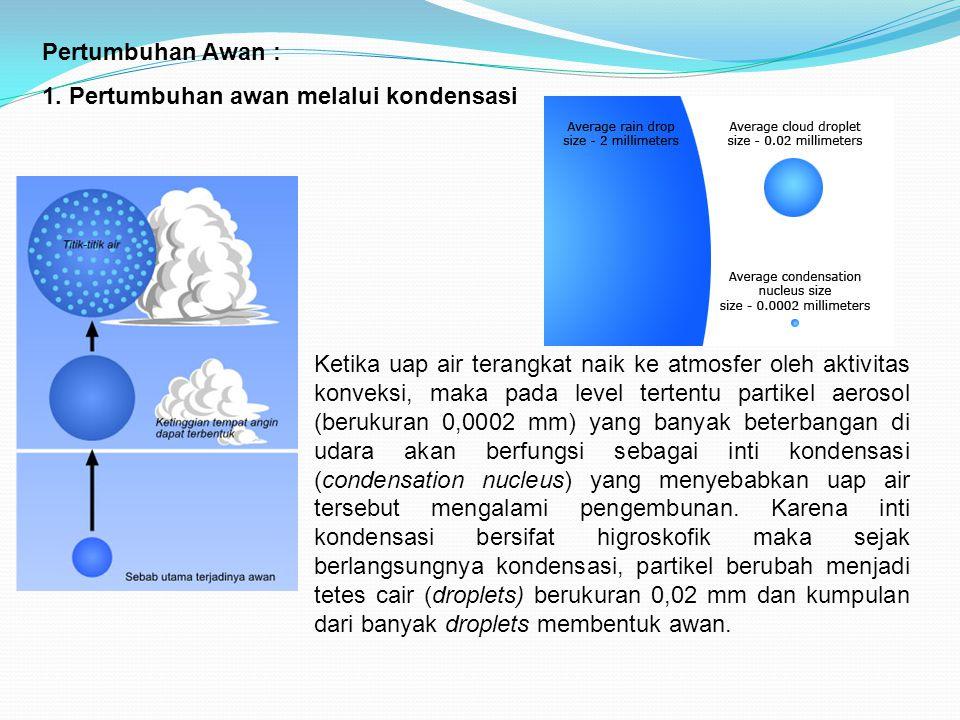 Ketika uap air terangkat naik ke atmosfer oleh aktivitas konveksi, maka pada level tertentu partikel aerosol (berukuran 0,0002 mm) yang banyak beterba