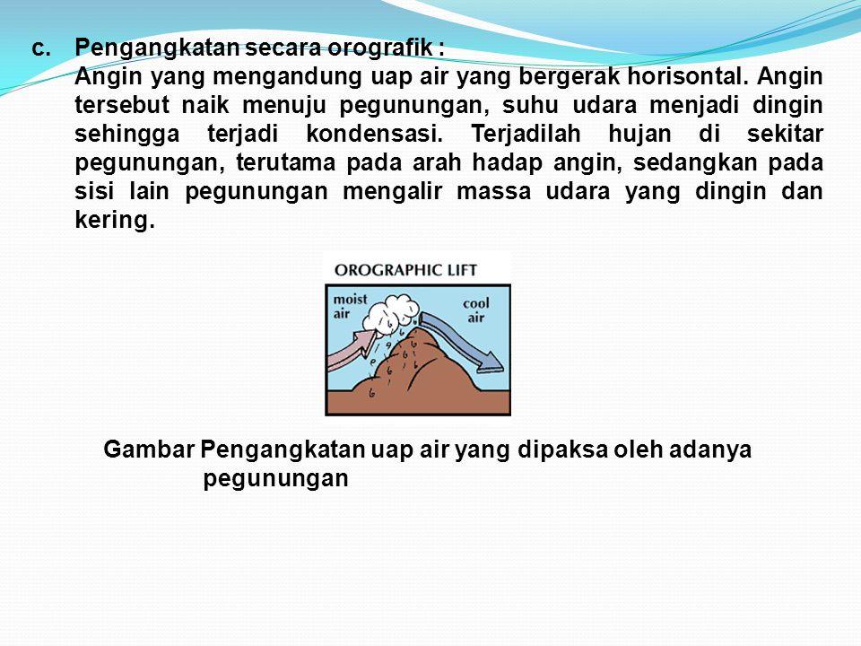 c.Pengangkatan secara orografik : Angin yang mengandung uap air yang bergerak horisontal. Angin tersebut naik menuju pegunungan, suhu udara menjadi di