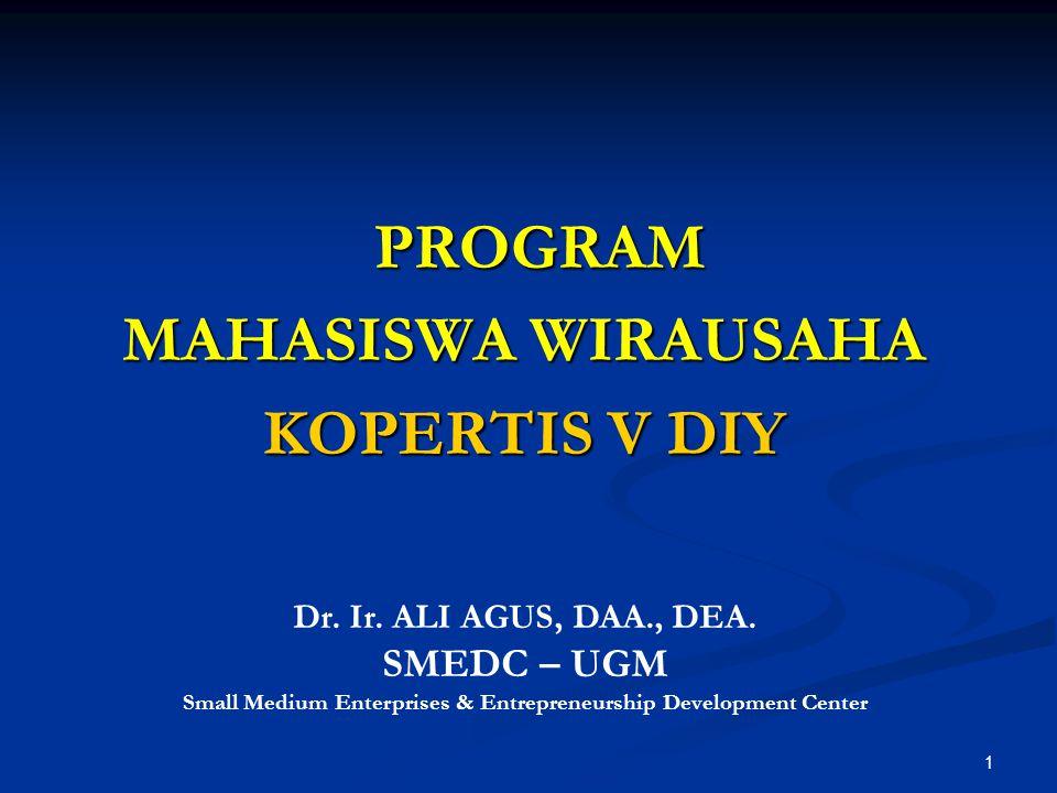 1 PROGRAM PROGRAM MAHASISWA WIRAUSAHA KOPERTIS V DIY Dr. Ir. ALI AGUS, DAA., DEA. SMEDC – UGM Small Medium Enterprises & Entrepreneurship Development