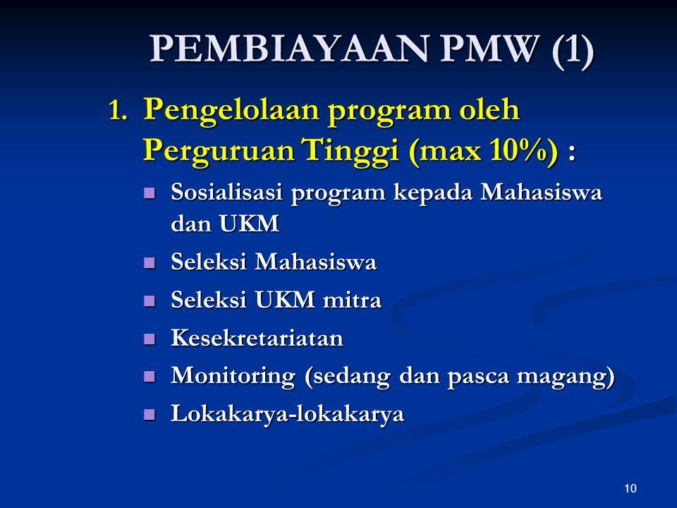 10 PEMBIAYAAN PMW (1) 1. Pengelolaan program oleh Perguruan Tinggi (max 10%) : Sosialisasi program kepada Mahasiswa dan UKM Sosialisasi program kepada