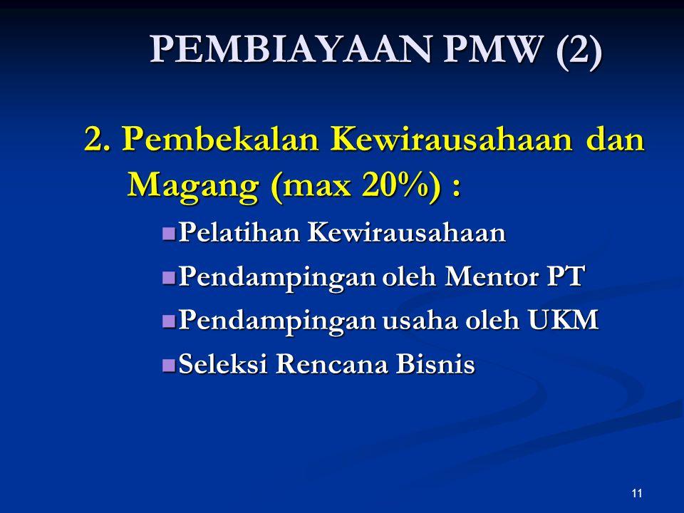 11 2. Pembekalan Kewirausahaan dan Magang (max 20%) : Pelatihan Kewirausahaan Pelatihan Kewirausahaan Pendampingan oleh Mentor PT Pendampingan oleh Me