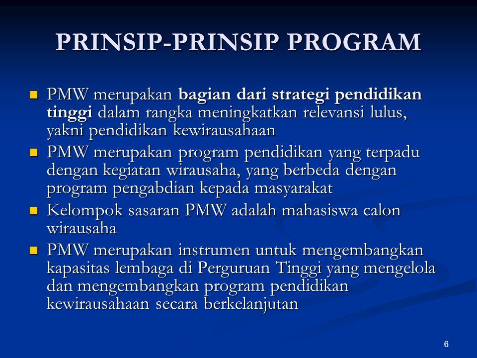 6 PRINSIP-PRINSIP PROGRAM PMW merupakan bagian dari strategi pendidikan tinggi dalam rangka meningkatkan relevansi lulus, yakni pendidikan kewirausaha