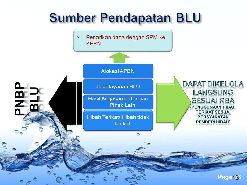 Page 13 13 Penarikan dana dengan SPM ke KPPN Alokasi APBN Jasa layanan BLU Hasil Kerjasama dengan Pihak Lain Hibah Terikat/ Hibah tidak terikat