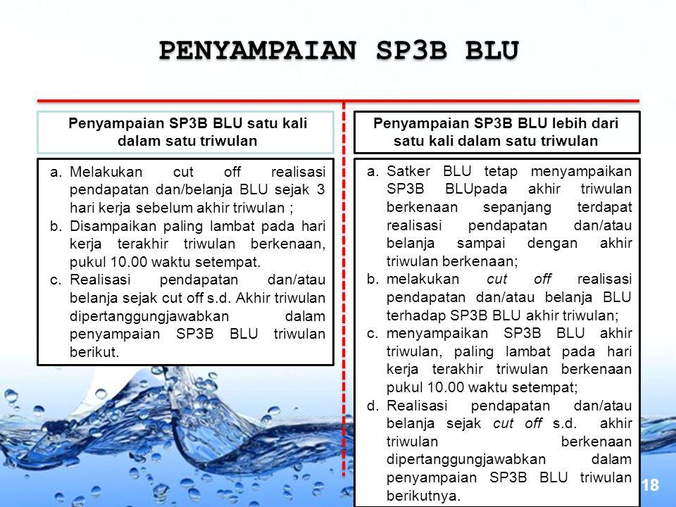 Page 18 PENYAMPAIAN SP3B BLU a.Melakukan cut off realisasi pendapatan dan/belanja BLU sejak 3 hari kerja sebelum akhir triwulan ; b.Disampaikan paling