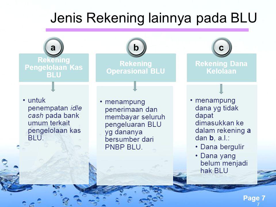 Page 7 Jenis Rekening lainnya pada BLU Rekening Pengelolaan Kas BLU untuk penempatan idle cash pada bank umum terkait pengelolaan kas BLU. Rekening Op