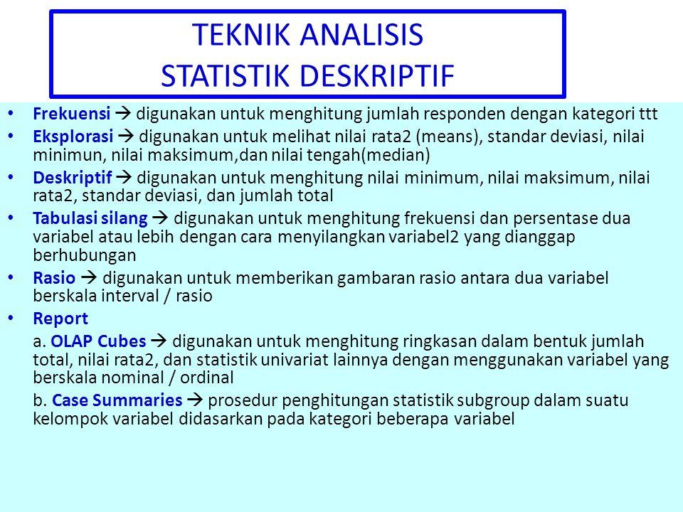 TEKNIK ANALISIS STATISTIK DESKRIPTIF Frekuensi  digunakan untuk menghitung jumlah responden dengan kategori ttt Eksplorasi  digunakan untuk melihat nilai rata2 (means), standar deviasi, nilai minimun, nilai maksimum,dan nilai tengah(median) Deskriptif  digunakan untuk menghitung nilai minimum, nilai maksimum, nilai rata2, standar deviasi, dan jumlah total Tabulasi silang  digunakan untuk menghitung frekuensi dan persentase dua variabel atau lebih dengan cara menyilangkan variabel2 yang dianggap berhubungan Rasio  digunakan untuk memberikan gambaran rasio antara dua variabel berskala interval / rasio Report a.