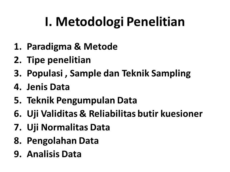 1.Paradigma & Metode 2.Tipe penelitian 3.Populasi, Sample dan Teknik Sampling 4.Jenis Data 5.Teknik Pengumpulan Data 6.Uji Validitas & Reliabilitas butir kuesioner 7.Uji Normalitas Data 8.Pengolahan Data 9.Analisis Data