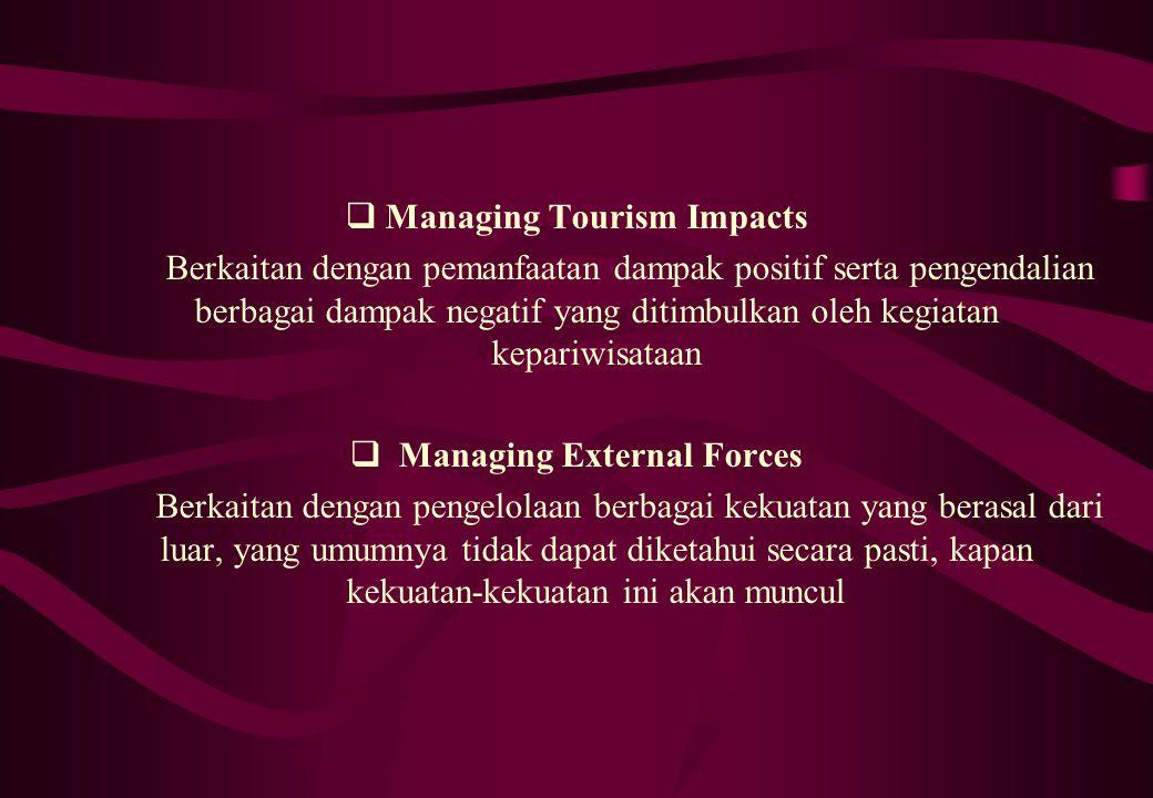  Managing Tourism Impacts Berkaitan dengan pemanfaatan dampak positif serta pengendalian berbagai dampak negatif yang ditimbulkan oleh kegiatan kepar