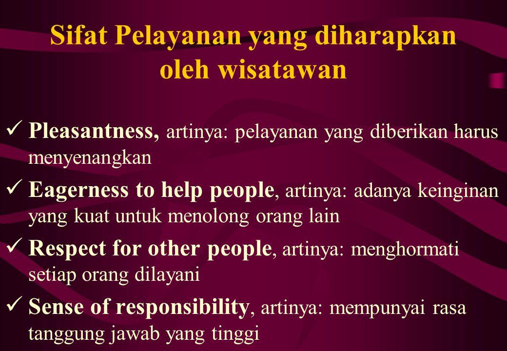 Sifat Pelayanan yang diharapkan oleh wisatawan Pleasantness, artinya: pelayanan yang diberikan harus menyenangkan Eagerness to help people, artinya: a