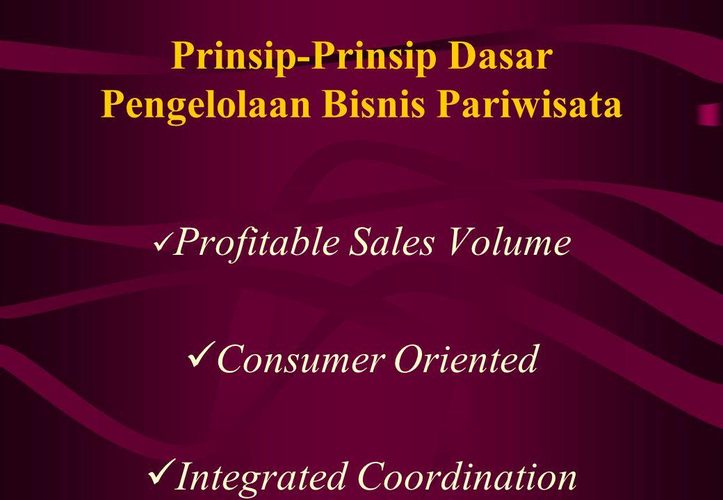 Prinsip-Prinsip Dasar Pengelolaan Bisnis Pariwisata Profitable Sales Volume Consumer Oriented Integrated Coordination