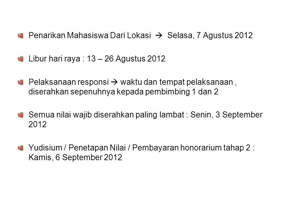 Penarikan Mahasiswa Dari Lokasi  Selasa, 7 Agustus 2012 Libur hari raya : 13 – 26 Agustus 2012 Pelaksanaan responsi  waktu dan tempat pelaksanaan, d
