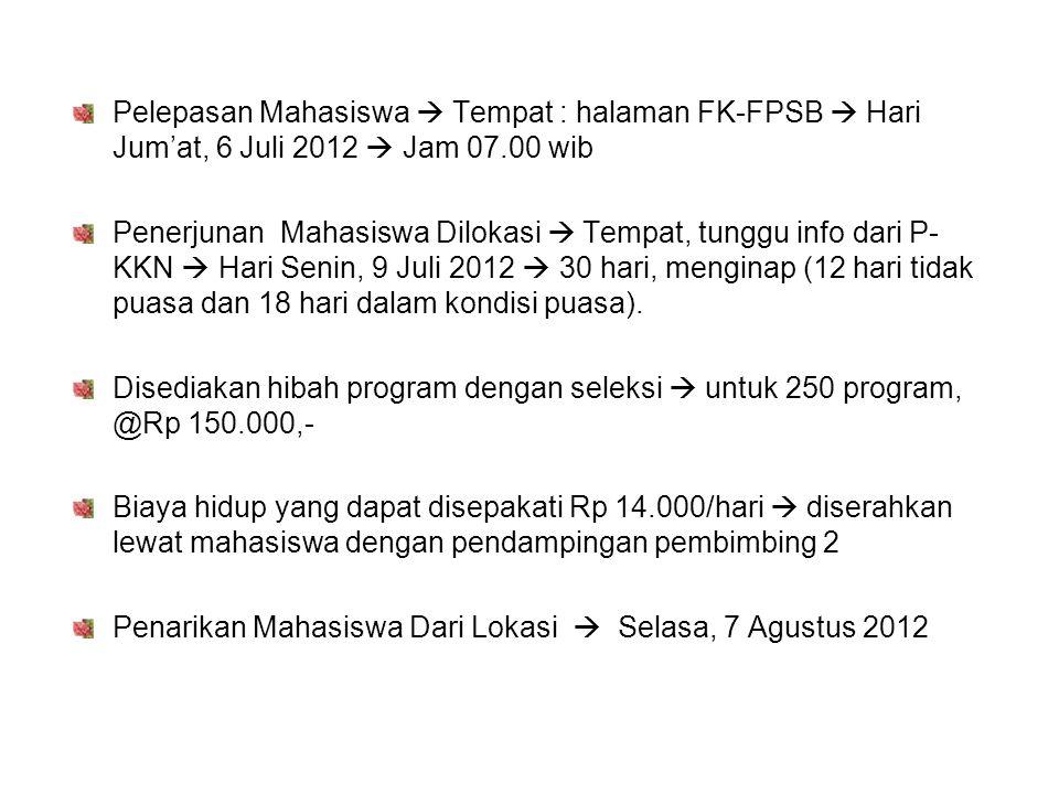 Pelepasan Mahasiswa  Tempat : halaman FK-FPSB  Hari Jum'at, 6 Juli 2012  Jam 07.00 wib Penerjunan Mahasiswa Dilokasi  Tempat, tunggu info dari P-