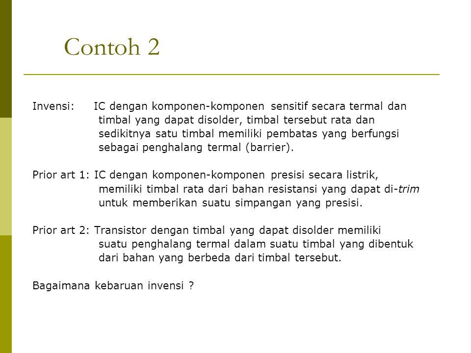 Contoh 2 Invensi: IC dengan komponen-komponen sensitif secara termal dan timbal yang dapat disolder, timbal tersebut rata dan sedikitnya satu timbal m