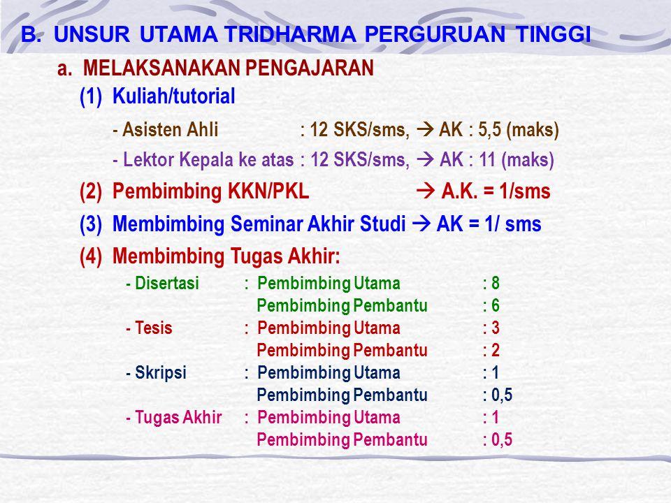 B.UNSUR UTAMA TRIDHARMA PERGURUAN TINGGI (1)Kuliah/tutorial - Asisten Ahli : 12 SKS/sms,  AK : 5,5 (maks) - Lektor Kepala ke atas : 12 SKS/sms,  AK : 11 (maks) (2)Pembimbing KKN/PKL  A.K.