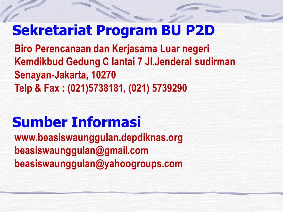Sekretariat Program BU P2D Biro Perencanaan dan Kerjasama Luar negeri Kemdikbud Gedung C lantai 7 Jl.Jenderal sudirman Senayan-Jakarta, 10270 Telp & Fax : (021)5738181, (021) 5739290 Sumber Informasi www.beasiswaunggulan.depdiknas.org beasiswaunggulan@gmail.com beasiswaunggulan@yahoogroups.com