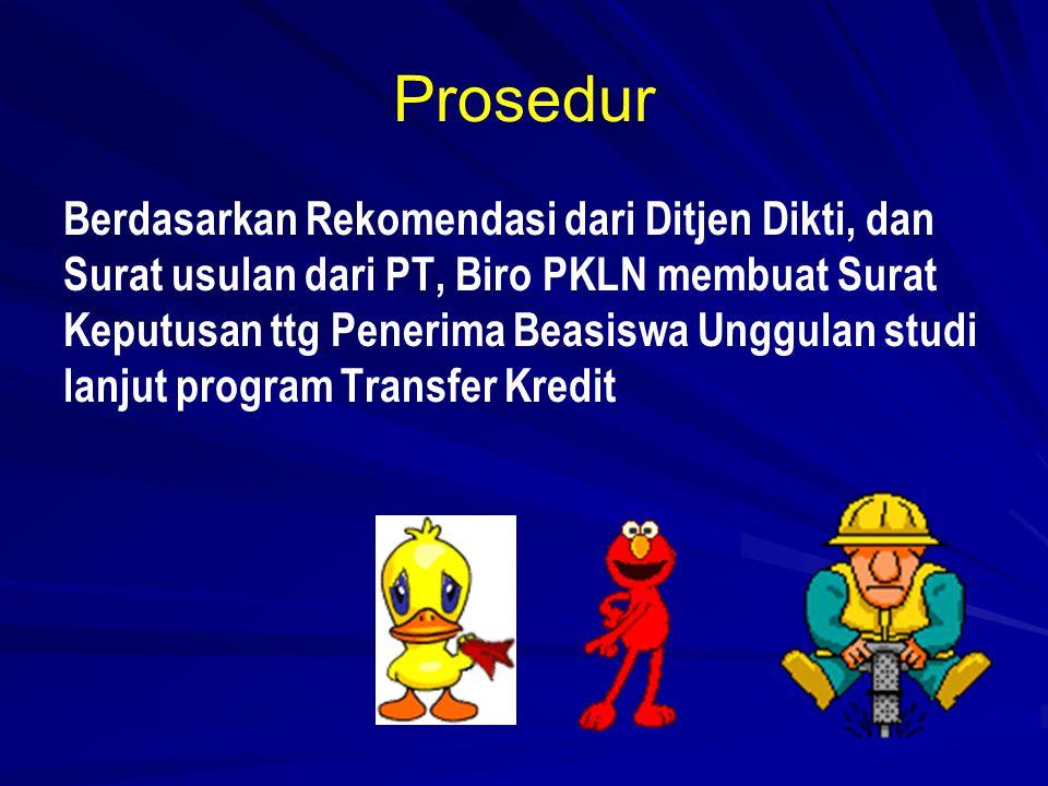 Prosedur Berdasarkan Rekomendasi dari Ditjen Dikti, dan Surat usulan dari PT, Biro PKLN membuat Surat Keputusan ttg Penerima Beasiswa Unggulan studi lanjut program Transfer Kredit