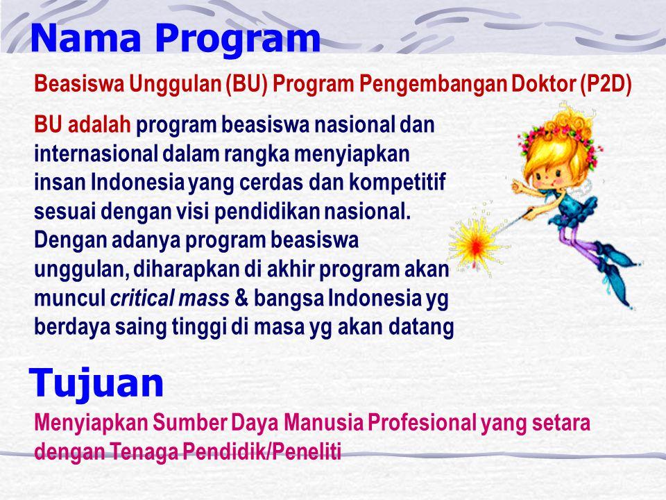 Nama Program Beasiswa Unggulan (BU) Program Pengembangan Doktor (P2D) BU adalah program beasiswa nasional dan internasional dalam rangka menyiapkan insan Indonesia yang cerdas dan kompetitif sesuai dengan visi pendidikan nasional.