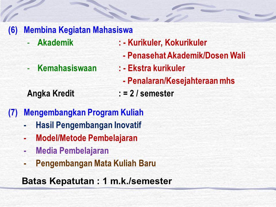 (6) Membina Kegiatan Mahasiswa - Akademik : - Kurikuler, Kokurikuler - Penasehat Akademik/Dosen Wali - Kemahasiswaan : - Ekstra kurikuler - Penalaran/Kesejahteraan mhs Angka Kredit: = 2 / semester (7) Mengembangkan Program Kuliah - Hasil Pengembangan Inovatif - Model/Metode Pembelajaran - Media Pembelajaran - Pengembangan Mata Kuliah Baru Batas Kepatutan : 1 m.k./semester