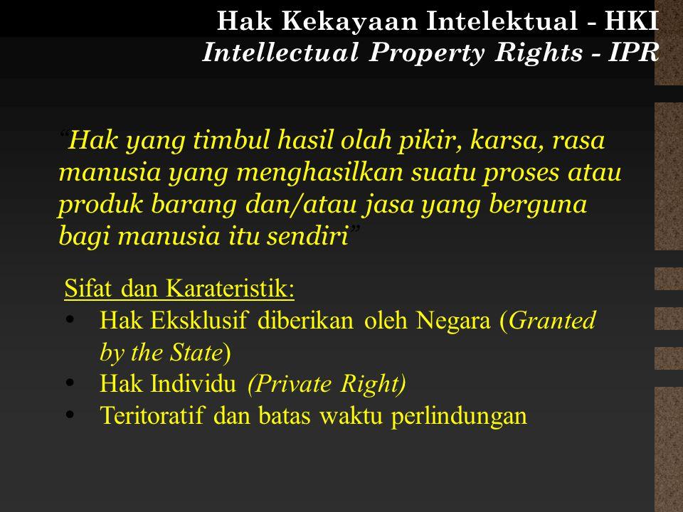 Sifat dan Karateristik:  Hak Eksklusif diberikan oleh Negara (Granted by the State)  Hak Individu (Private Right)  Teritoratif dan batas waktu perl