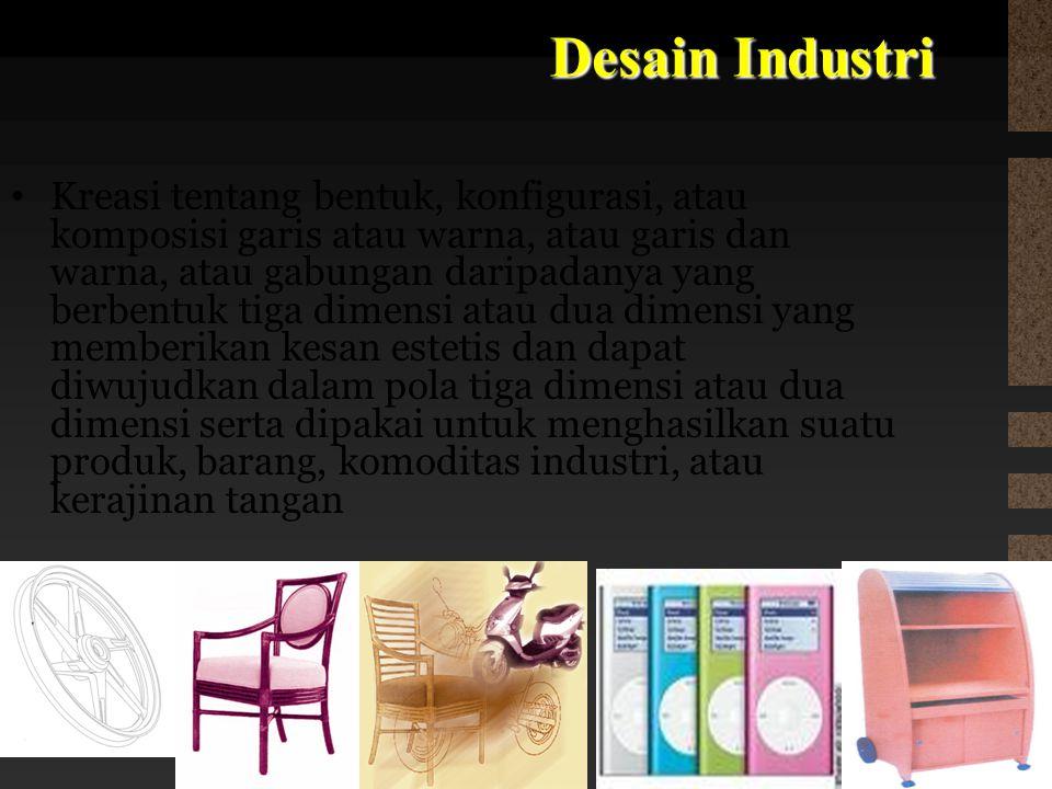 Desain Industri Kreasi tentang bentuk, konfigurasi, atau komposisi garis atau warna, atau garis dan warna, atau gabungan daripadanya yang berbentuk ti