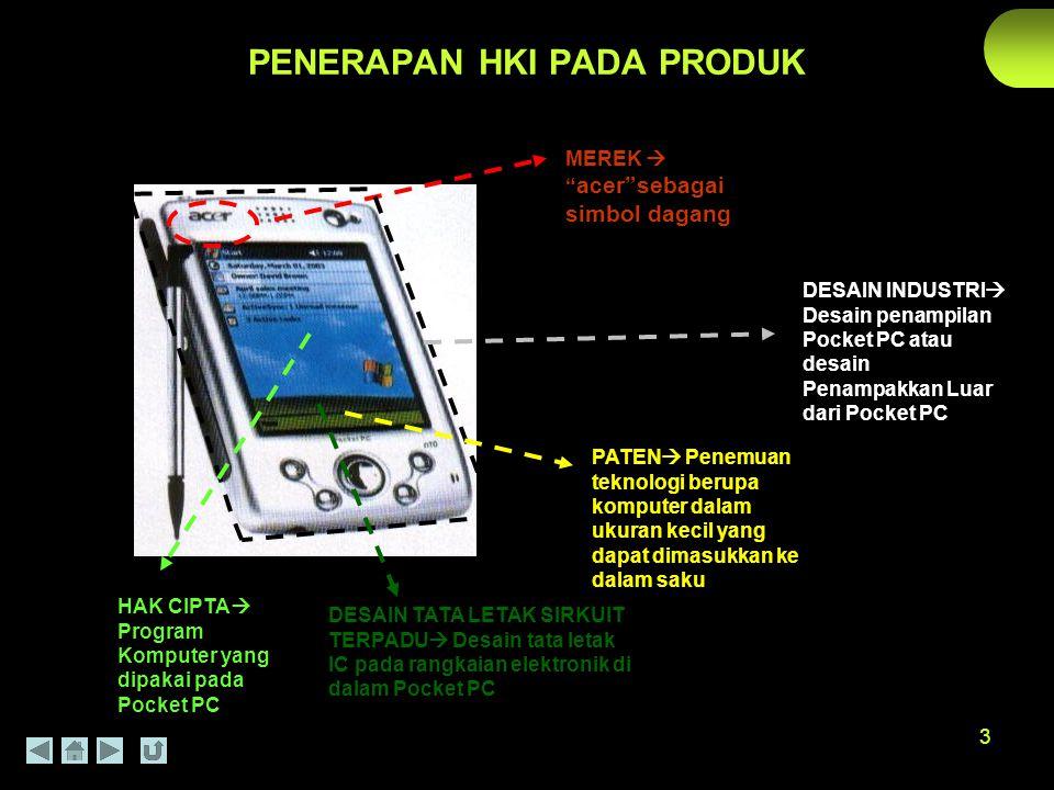 """3 PENERAPAN HKI PADA PRODUK MEREK  """" acer""""sebagai simbol dagang DESAIN INDUSTRI  Desain penampilan Pocket PC atau desain Penampakkan Luar dari Pocke"""