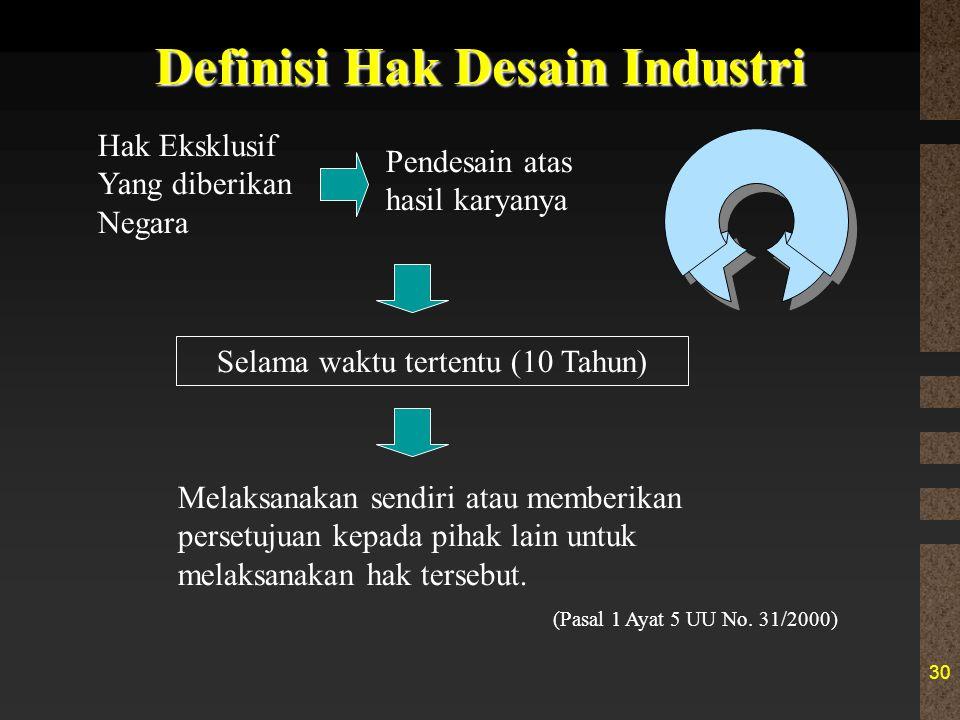 30 Definisi Hak Desain Industri Hak Eksklusif Yang diberikan Negara Pendesain atas hasil karyanya Selama waktu tertentu (10 Tahun) Melaksanakan sendi