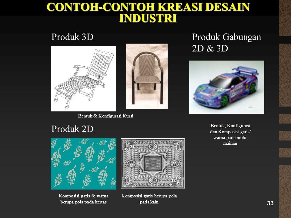 33 CONTOH-CONTOH KREASI DESAIN INDUSTRI Produk 3D Produk 2D Produk Gabungan 2D & 3D Bentuk & Konfigurasi Kursi Komposisi garis & warna berupa pola pad