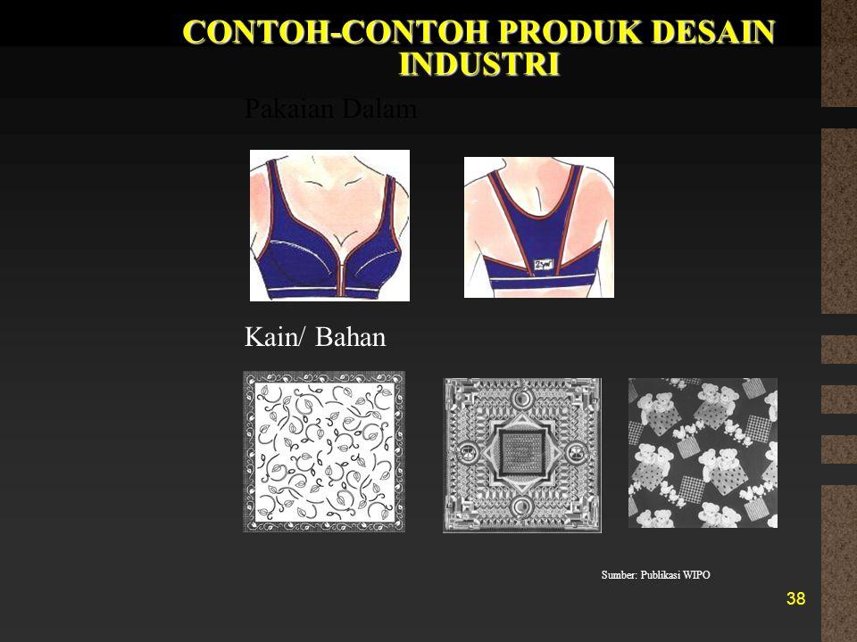 38 CONTOH-CONTOH PRODUK DESAIN INDUSTRI Pakaian Dalam Kain/ Bahan Sumber: Publikasi WIPO