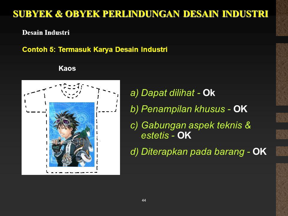 44 SUBYEK & OBYEK PERLINDUNGAN DESAIN INDUSTRI Desain Industri Contoh 5: Termasuk Karya Desain Industri a)Dapat dilihat - Ok b)Penampilan khusus - OK