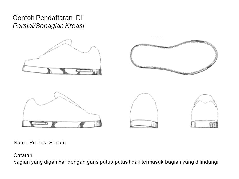 Contoh Pendaftaran DI Parsial/Sebagian Kreasi Nama Produk: Sepatu Catatan: bagian yang digambar dengan garis putus-putus tidak termasuk bagian yang di