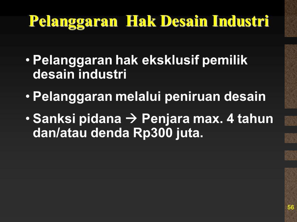 56 Pelanggaran Hak Desain Industri Pelanggaran hak eksklusif pemilik desain industri Pelanggaran melalui peniruan desain Sanksi pidana  Penjara max.
