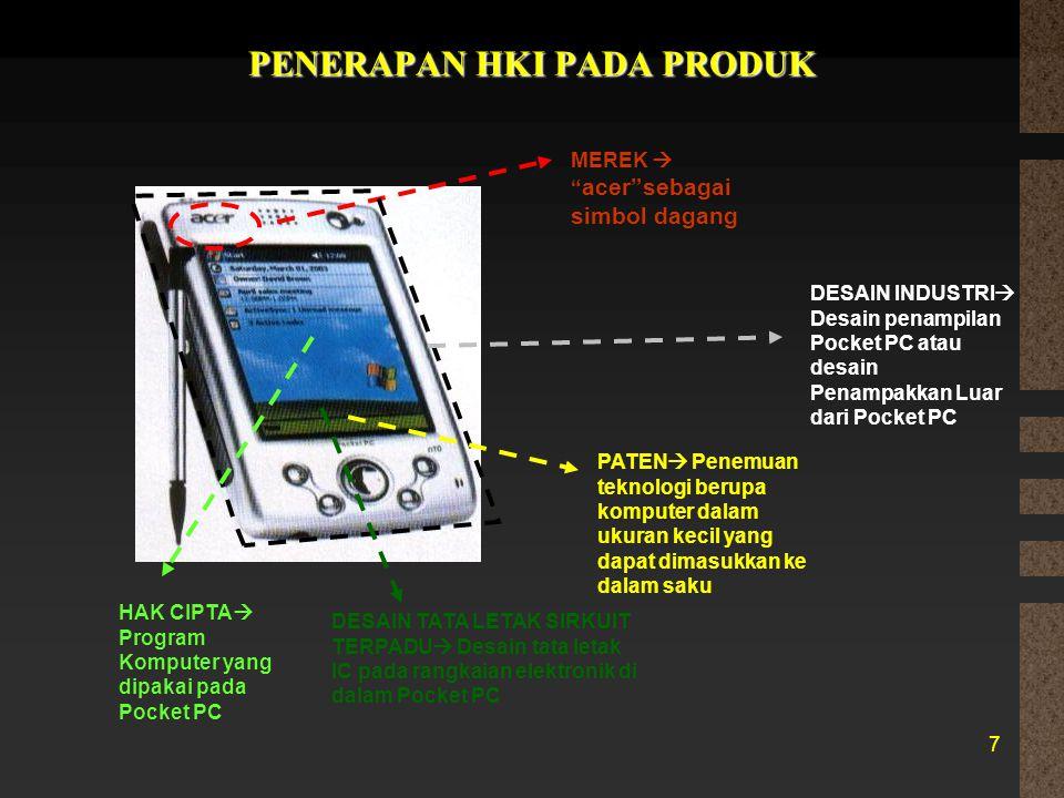 """PENERAPAN HKI PADA PRODUK 7 MEREK  """" acer""""sebagai simbol dagang DESAIN INDUSTRI  Desain penampilan Pocket PC atau desain Penampakkan Luar dari Pocke"""