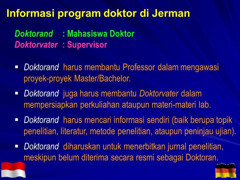 Doktorand : Mahasiswa Doktor Doktorvater : Supervisor  Doktorand harus membantu Professor dalam mengawasi proyek-proyek Master/Bachelor.