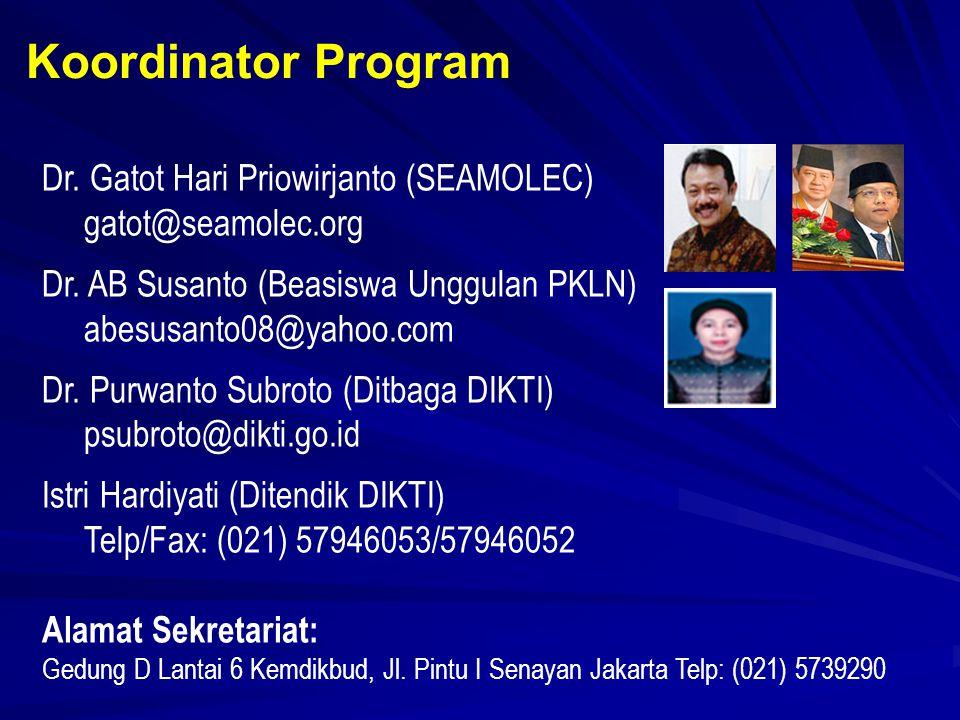 Dr. Gatot Hari Priowirjanto (SEAMOLEC) gatot@seamolec.org Dr.