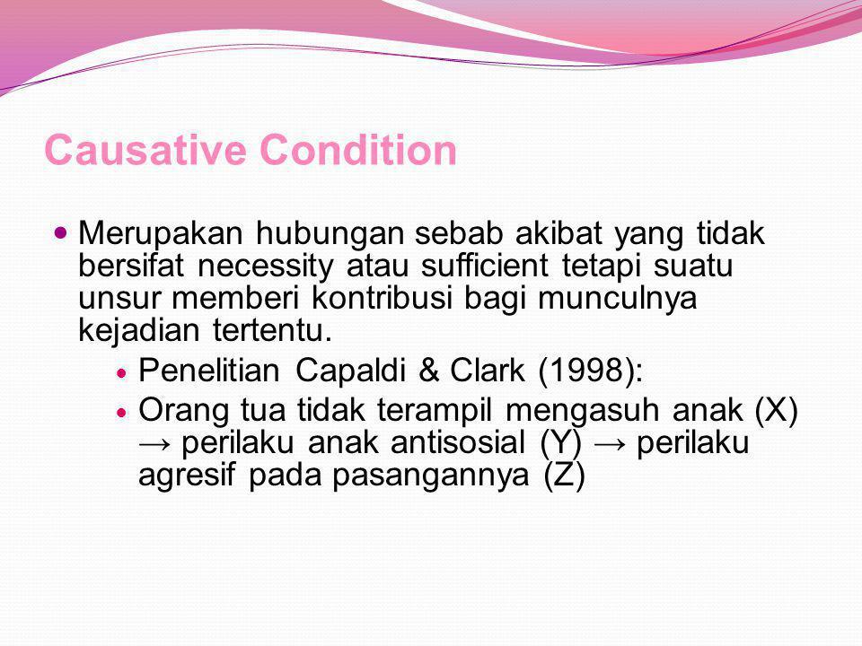 Causative Condition Merupakan hubungan sebab akibat yang tidak bersifat necessity atau sufficient tetapi suatu unsur memberi kontribusi bagi munculnya kejadian tertentu.
