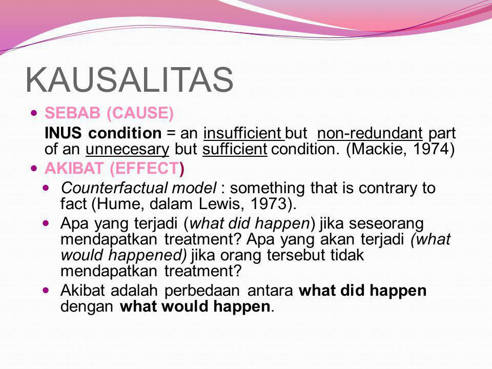 KAUSALITAS SEBAB (CAUSE) INUS condition = an insufficient but non-redundant part of an unnecesary but sufficient condition. (Mackie, 1974) AKIBAT (EFF