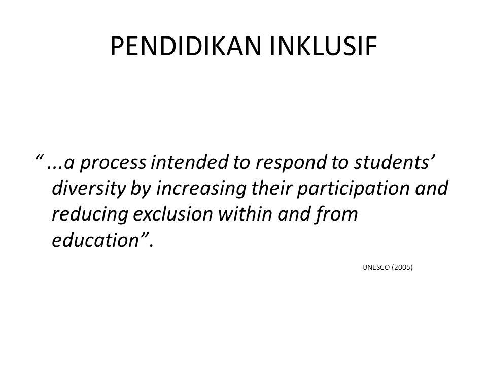 PI MENGAKOMODASI merespon keanekaragaman siswa meningkatkan partisipasi siswa mengurangi keterpisahan siswa dalam dan dari pendidikan.