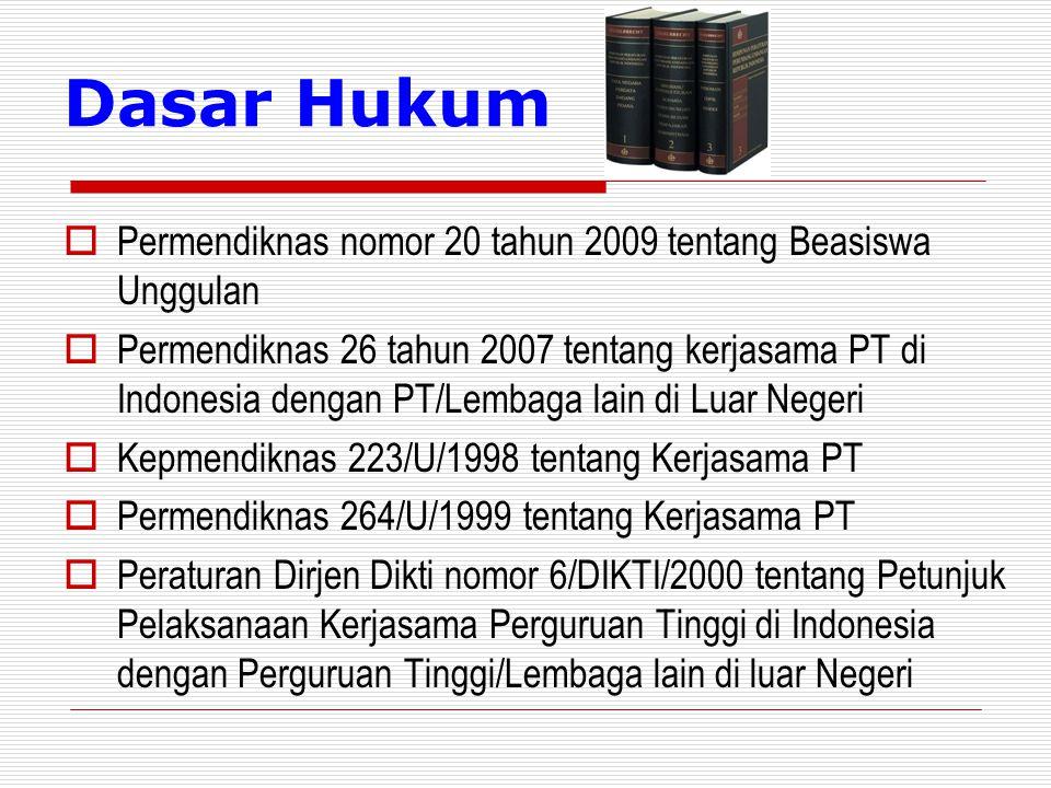 Dasar Hukum  Permendiknas nomor 20 tahun 2009 tentang Beasiswa Unggulan  Permendiknas 26 tahun 2007 tentang kerjasama PT di Indonesia dengan PT/Lembaga lain di Luar Negeri  Kepmendiknas 223/U/1998 tentang Kerjasama PT  Permendiknas 264/U/1999 tentang Kerjasama PT  Peraturan Dirjen Dikti nomor 6/DIKTI/2000 tentang Petunjuk Pelaksanaan Kerjasama Perguruan Tinggi di Indonesia dengan Perguruan Tinggi/Lembaga lain di luar Negeri