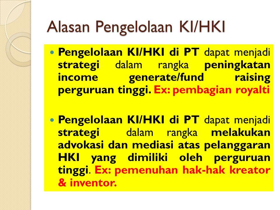 Alasan Pengelolaan KI/HKI Pengelolaan KI/HKI di PT dapat menjadi strategi dalam rangka peningkatan income generate/fund raising perguruan tinggi. Ex: