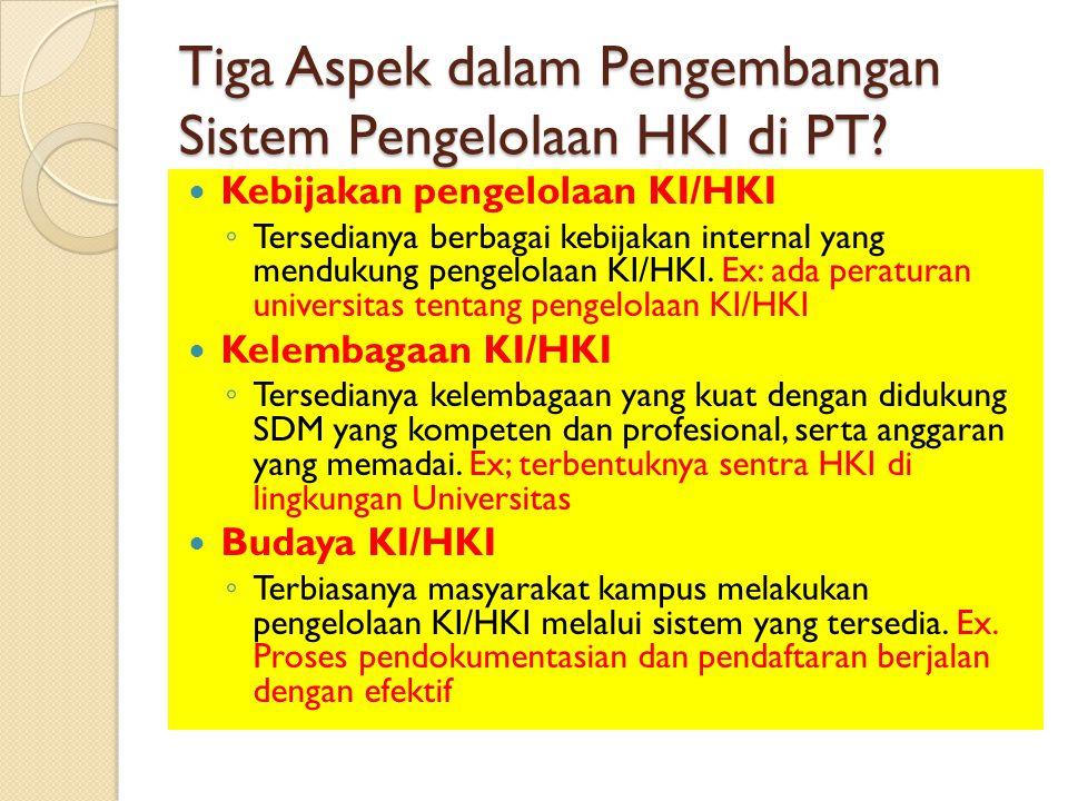 Tiga Aspek dalam Pengembangan Sistem Pengelolaan HKI di PT? Kebijakan pengelolaan KI/HKI ◦ Tersedianya berbagai kebijakan internal yang mendukung peng