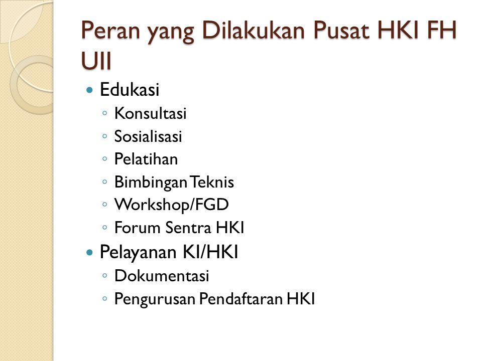 Peran yang Dilakukan Pusat HKI FH UII Edukasi ◦ Konsultasi ◦ Sosialisasi ◦ Pelatihan ◦ Bimbingan Teknis ◦ Workshop/FGD ◦ Forum Sentra HKI Pelayanan KI