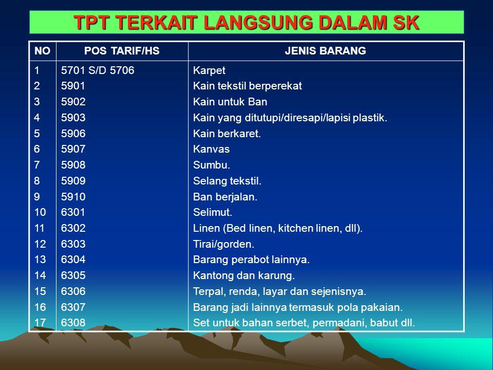 TPT TERKAIT LANGSUNG DALAM SK NOPOS TARIF/HSJENIS BARANG 1 2 3 4 5 6 7 8 9 10 11 12 13 14 15 16 17 5701 S/D 5706 5901 5902 5903 5906 5907 5908 5909 59