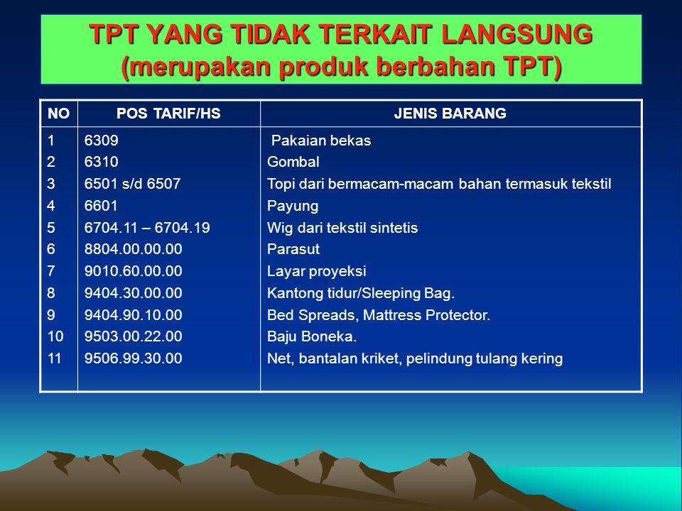 TPT YANG TIDAK TERKAIT LANGSUNG (merupakan produk berbahan TPT) NOPOS TARIF/HSJENIS BARANG 1 2 3 4 5 6 7 8 9 10 11 6309 6310 6501 s/d 6507 6601 6704.1