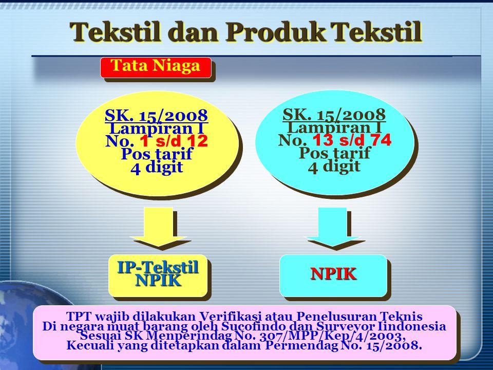 Tekstil dan Produk Tekstil SK. 15/2008 Lampiran I No. 1 s/d 12 Pos tarif 4 digit SK. 15/2008 Lampiran I No. 1 s/d 12 Pos tarif 4 digit SK. 15/2008 Lam