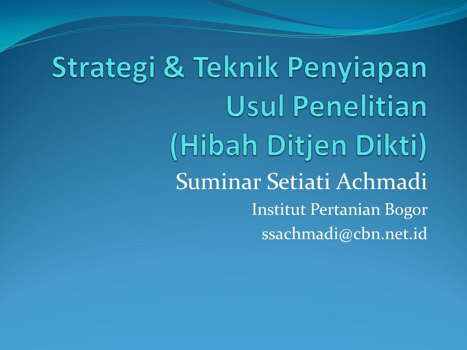 Desentralisasi Kompetisi Nasional Penelitian Unggulan PT Hibah Bersaing Penelitian Fundamental Penelitian Tim Pascasarjana Penelitian Kerja Sama antarPT (Pekerti) Penelitian Disertasi Doktor Penelitian Dosen Pemula Penelitian Unggulan Strategis Nasional Riset Andalan PT dan Industri (RAPID) Penelitian Kerja Sama Luar Negeri dan Publikasi Internasional Hibah Kompetensi Penelitian Strategis Nasional Masterplan Percepatan dan Perluasan Pembangunan Ekonomi Indonesia (MP3EI)