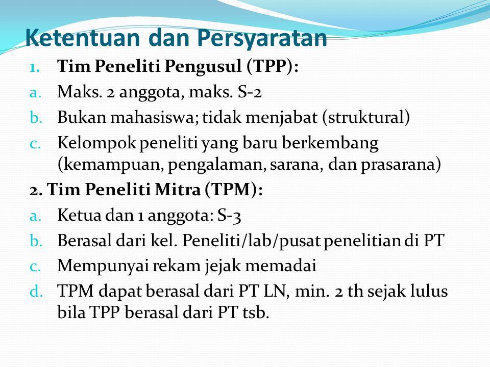 Ketentuan dan Persyaratan 1.Tim Peneliti Pengusul (TPP): a.